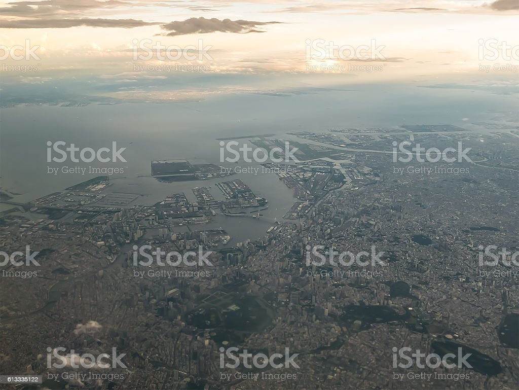 Aerial view of Tokyo Bay stock photo