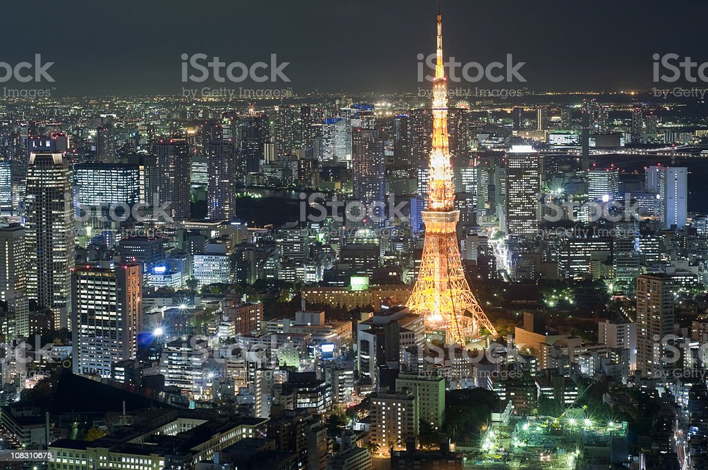 Aerial View of Tokyo Tower at Night royalty-free stock photo