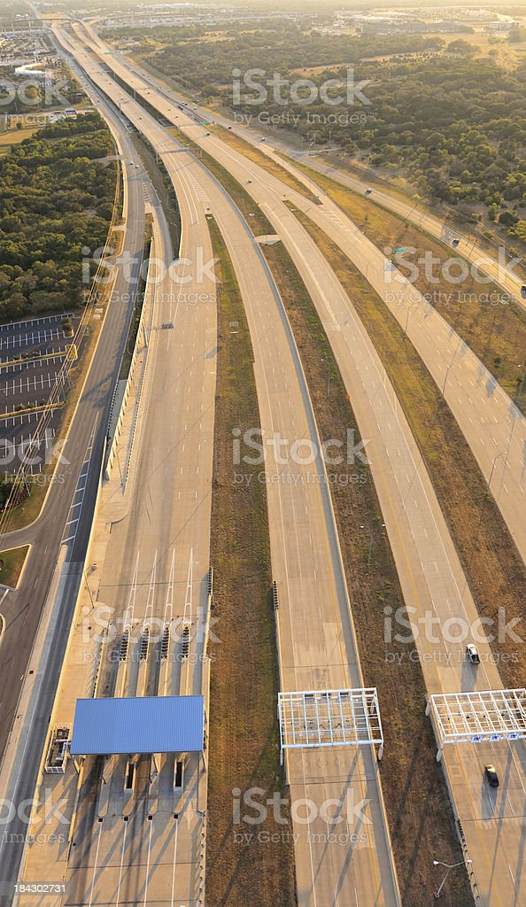 aerial view of toll highway near Austin Texas stock photo