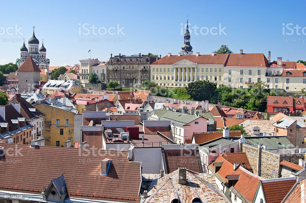 Aerial view of Toompea (Upper city) of Tallinn stock photo