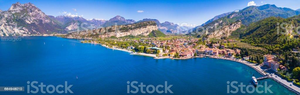 Aerial View of Torbole, Lake of Garda, Italy stock photo