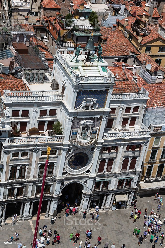 Aerial View of Torre dell'Orologio building in Saint Mark's Squa stock photo