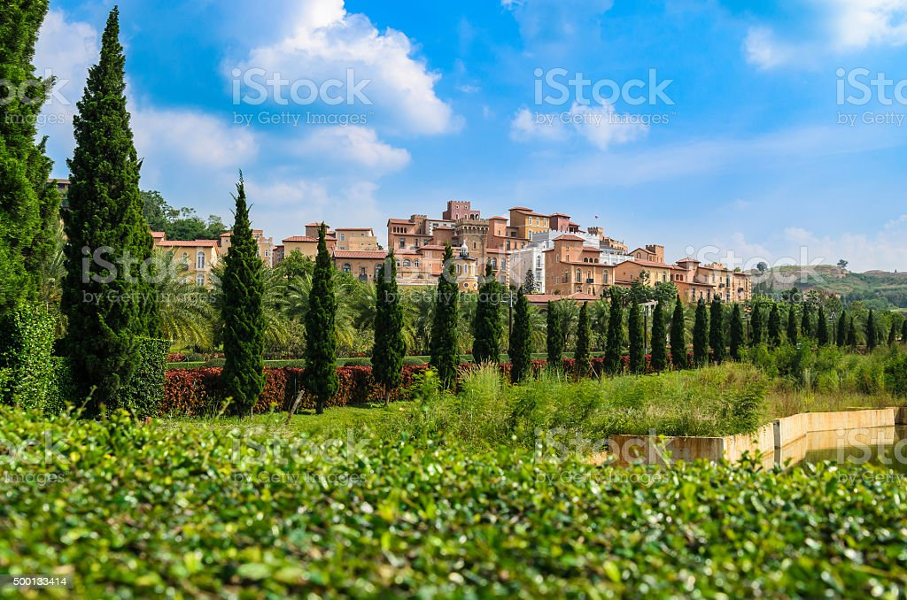 Aerial View of Toscana Valley with KhaoYai in Thailand. stock photo