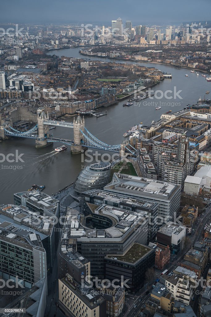 Aerial view of Tower Bridge in London stock photo