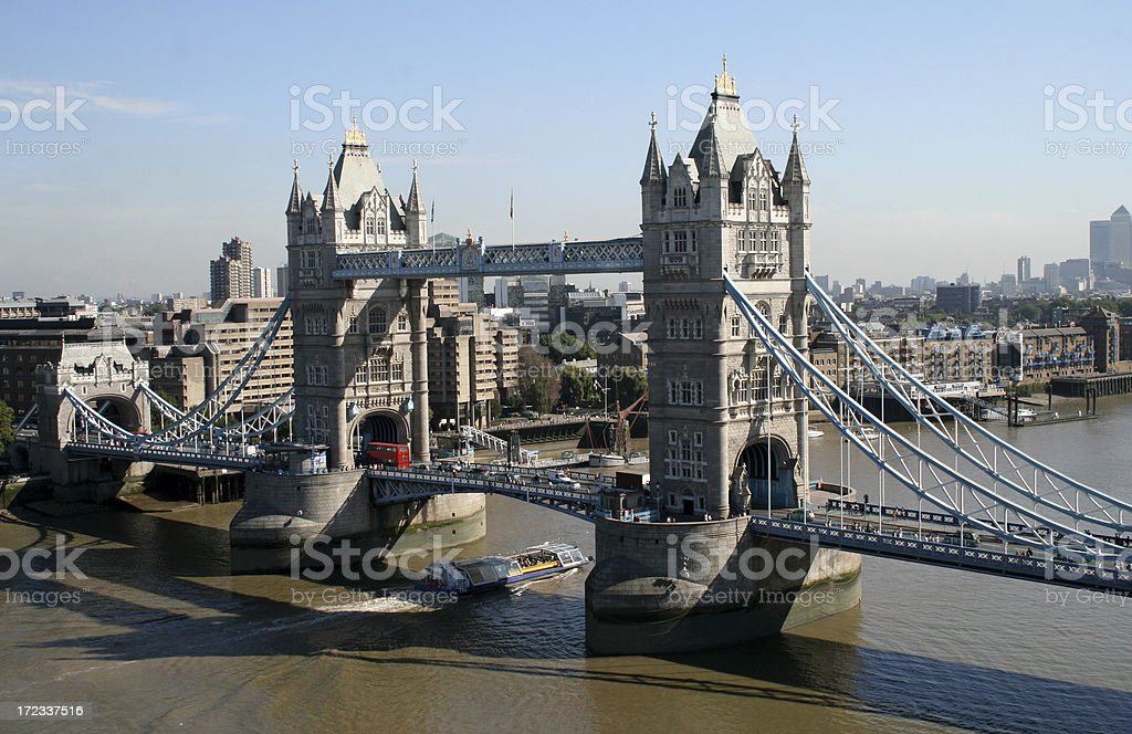 Aerial view of Tower Bridge over the Thames royalty-free stock photo