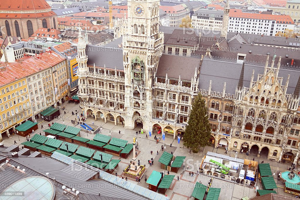 Aerial view of town hall in Munich royalty-free stock photo
