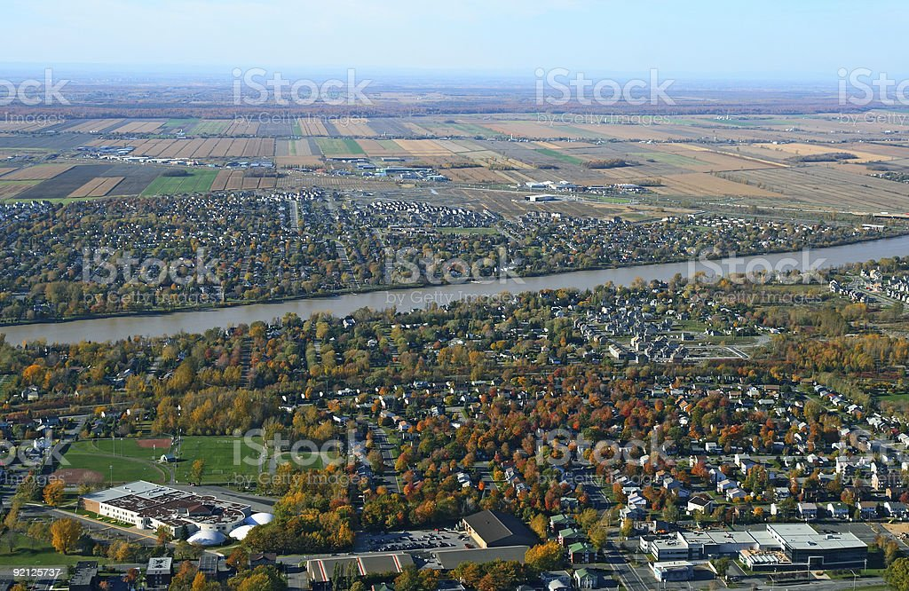 Aerial view of town near river royalty-free stock photo