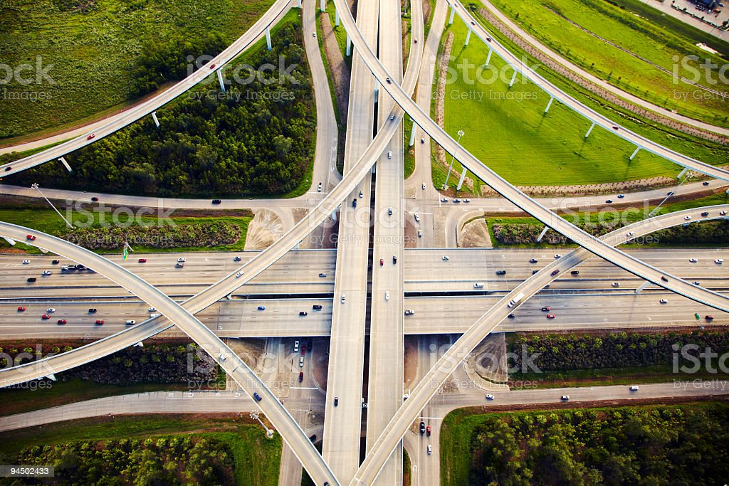 Aeirial view of traffic and overpasses stock photo