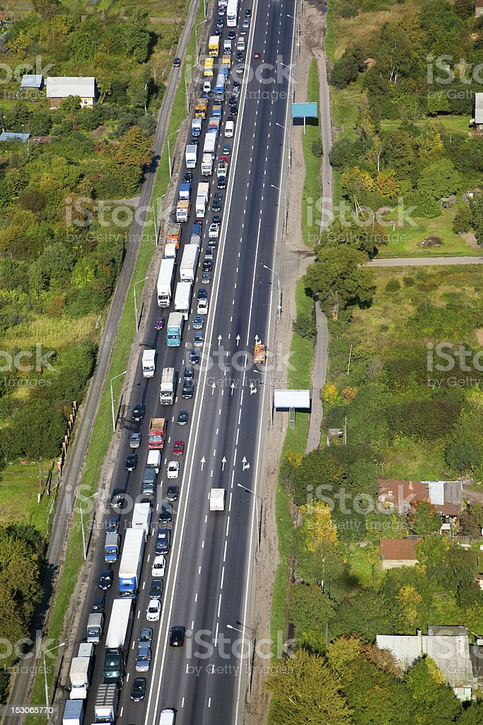 aerial view of traffic congestion on motorway stock photo