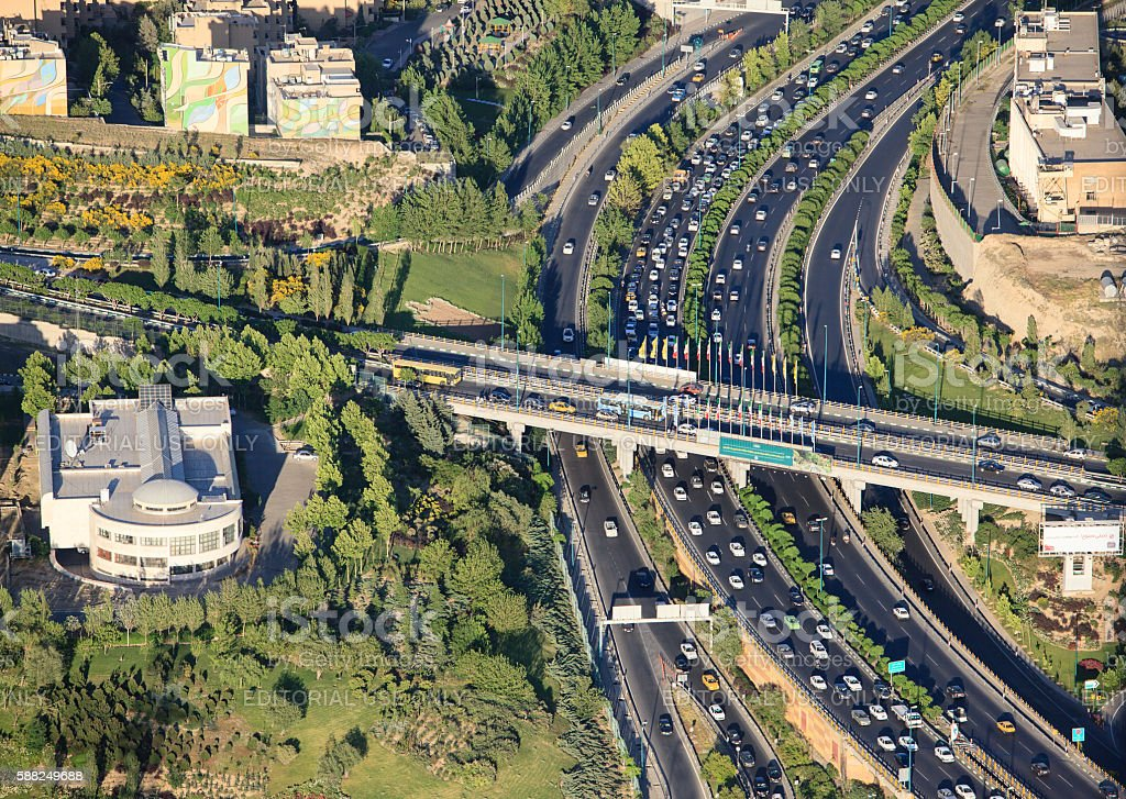 Aerial view of traffic interchange from Milad tower stock photo