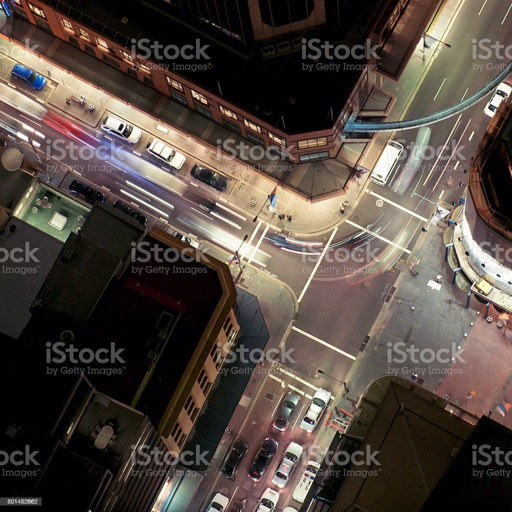 Aerial view of traffic junction at night stock photo