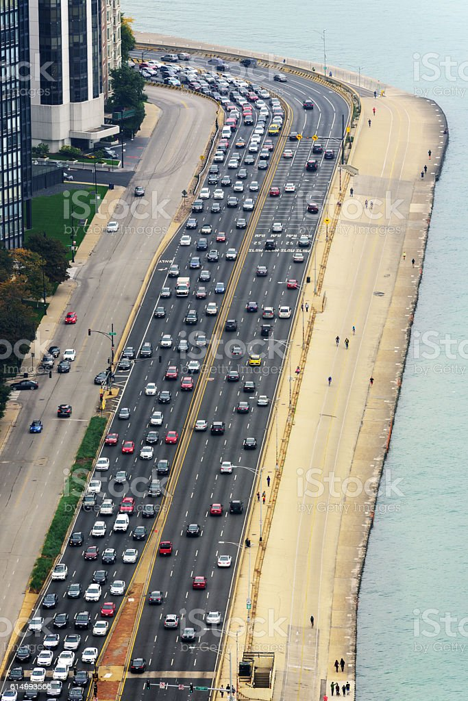 Aerial view of traffic on  Lake Shore Drive, Chicago stock photo