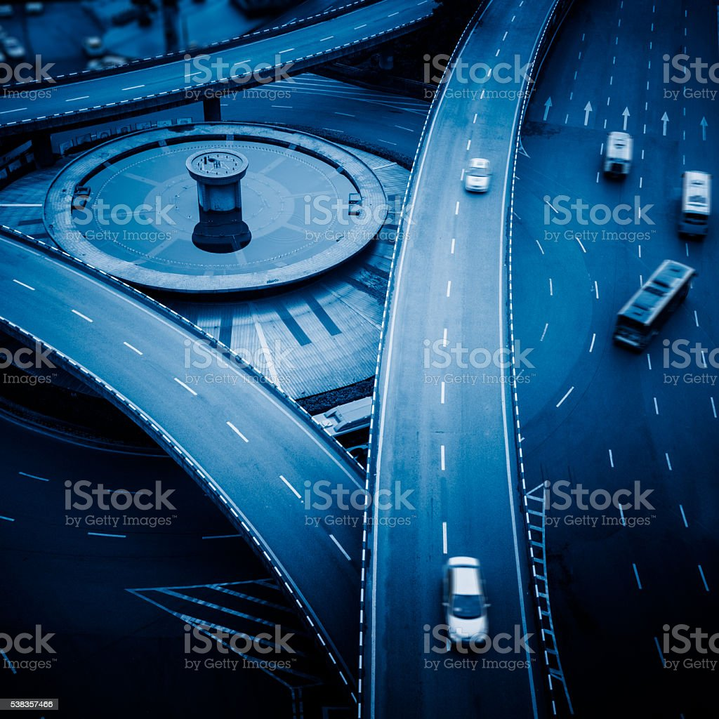 aerial view of traffic on  overpass on a sunny day stock photo