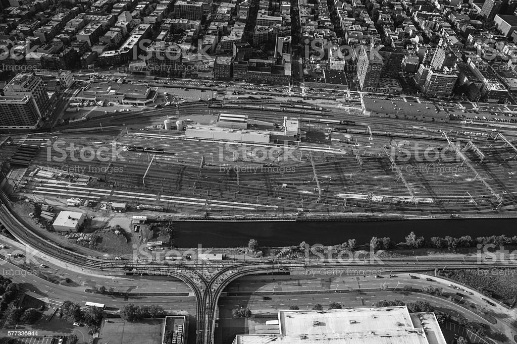 Aerial view of train terminal in Jersey City royalty-free stock photo