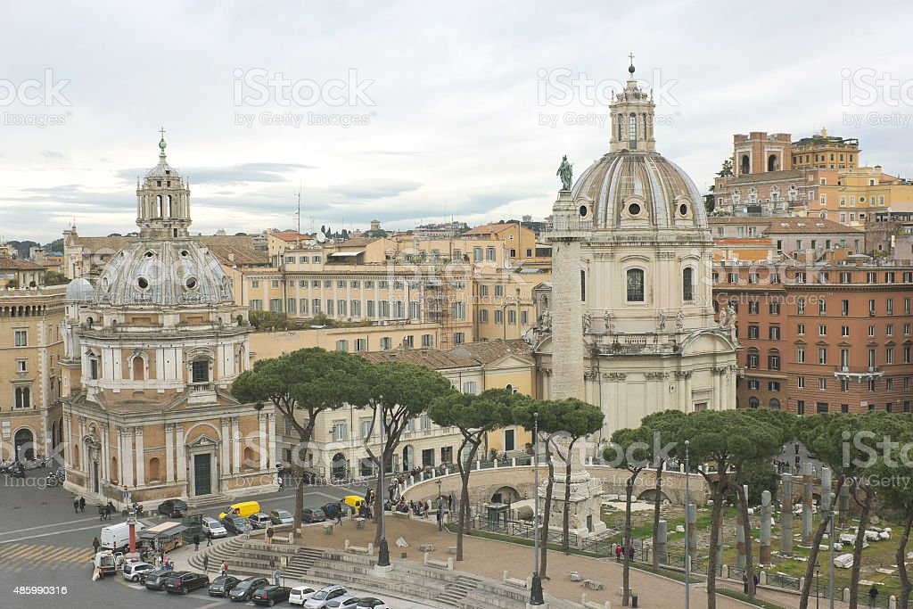 Aerial view of Trajan's Forum in Rome, Italy stock photo