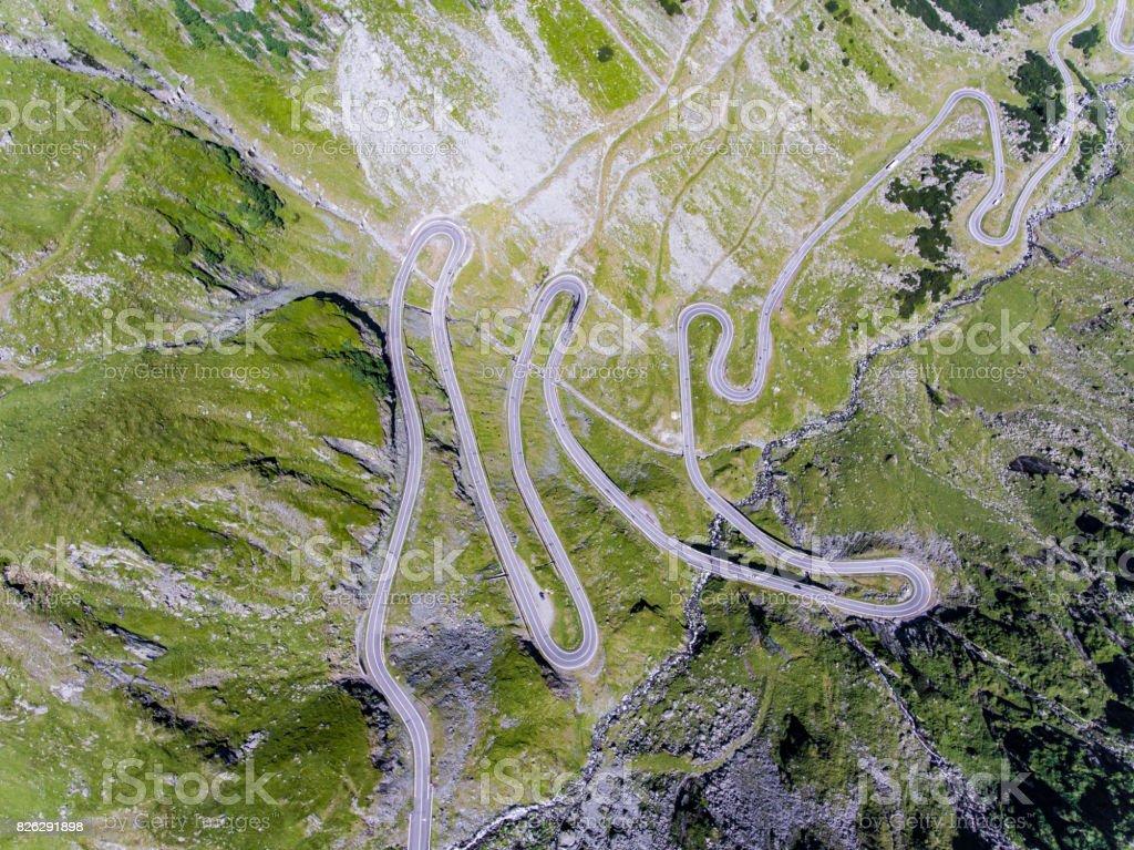 Aerial view of Transfagarasan mountain road in Romania stock photo