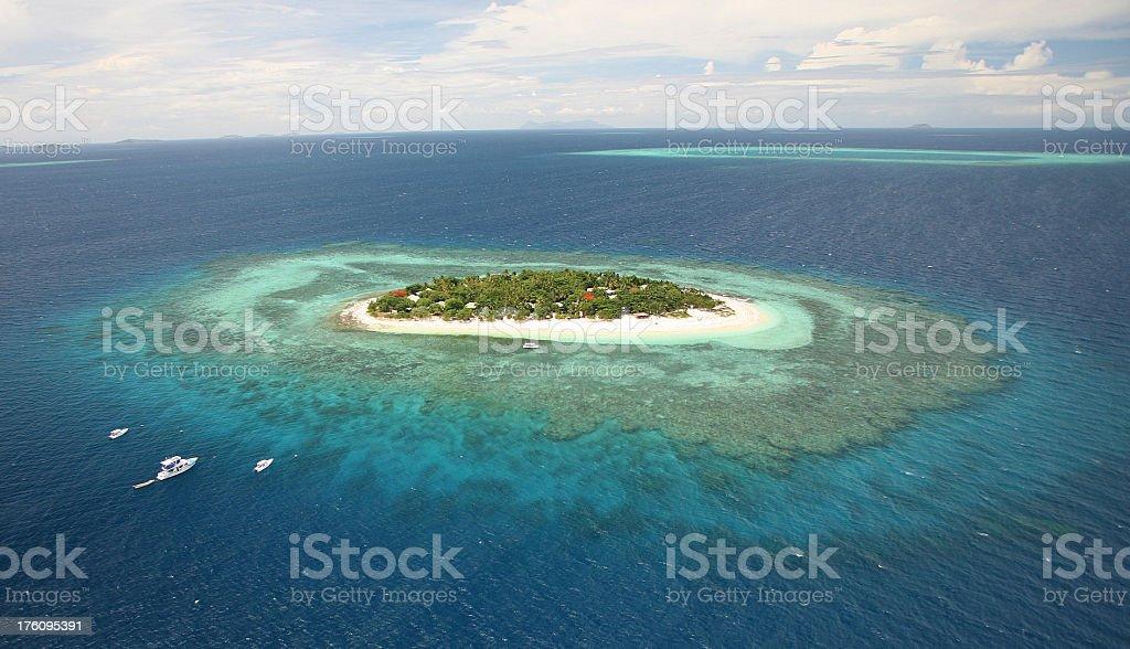 Aerial view of Treasure Island, Fiji stock photo