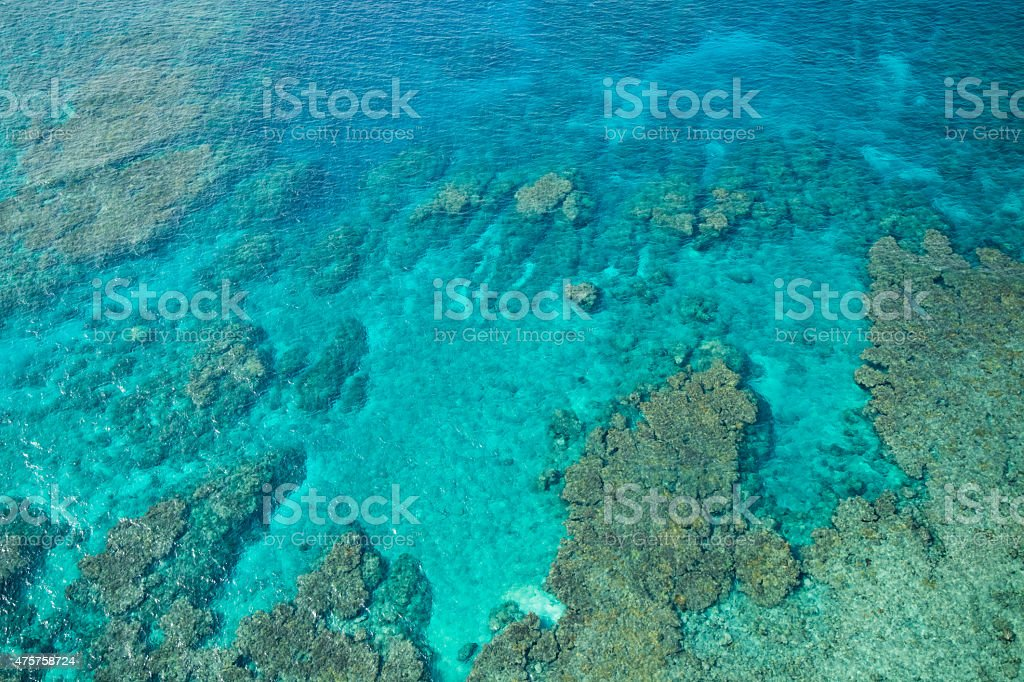 Luftaufnahme der tropischen Korallenriff Lagune paradise beach Lizenzfreies stock-foto