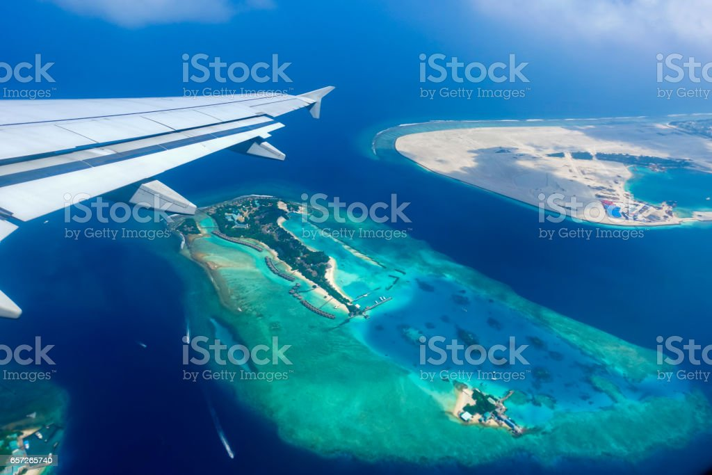 Aerial view of tropical islands and atolls in the Maldives stock photo