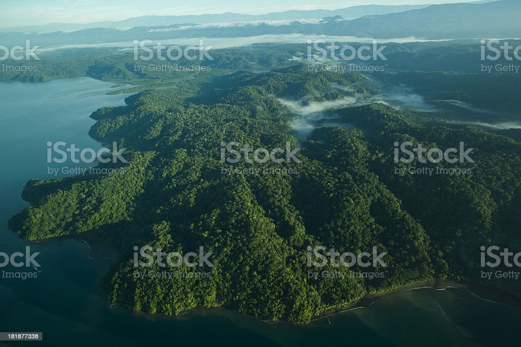 Aerial View of Tropical Rainforest and beach, Costa Rica stock photo