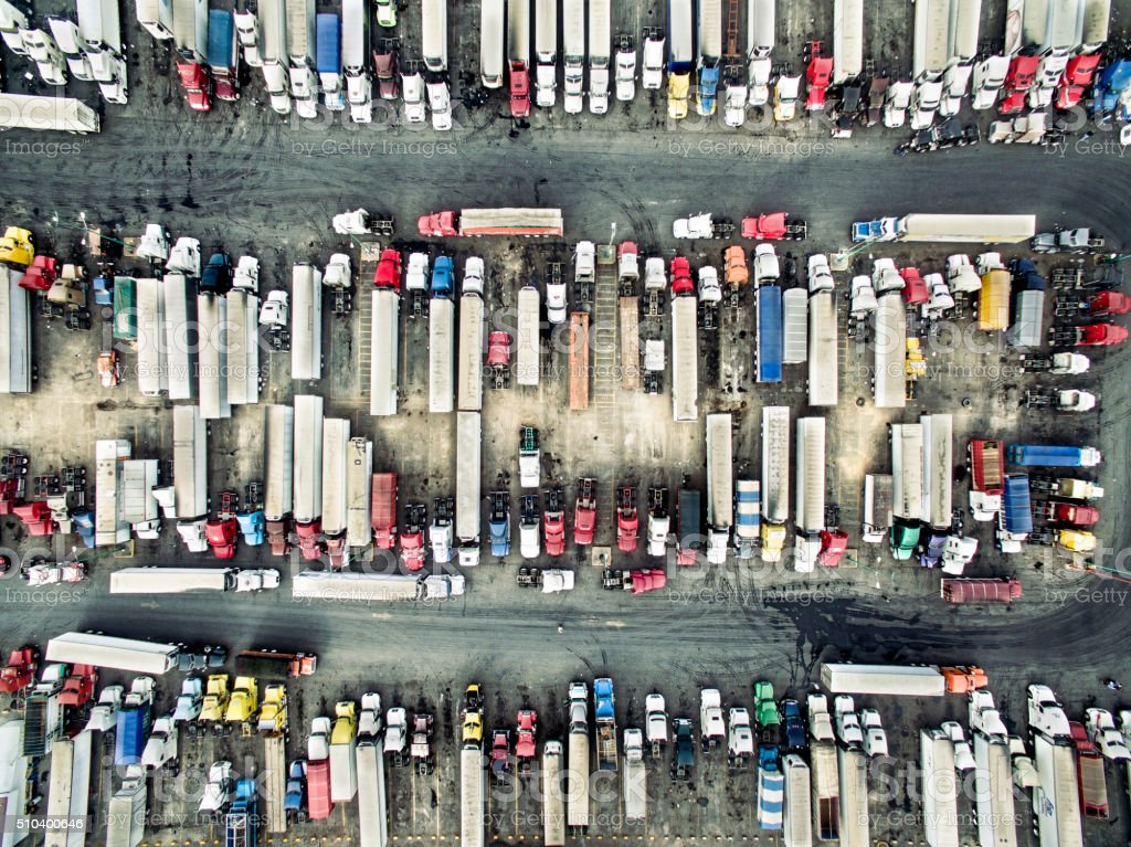 Aerial view of trucks and trailers stock photo