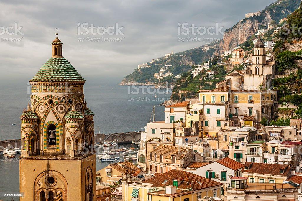 Aerial view of tthe Amalfi city stock photo