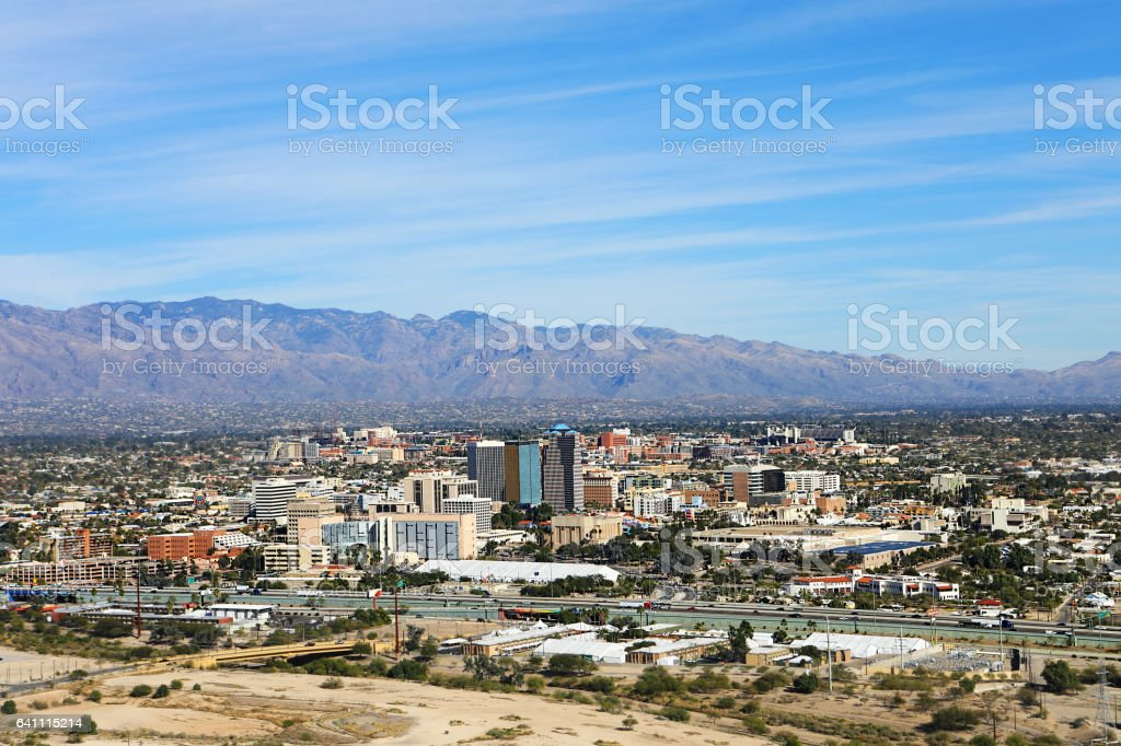 Aerial view of Tucson, Arizona stock photo