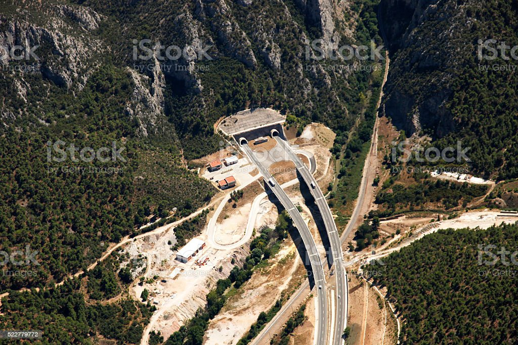Aerial View of Tunnel with Highway stock photo