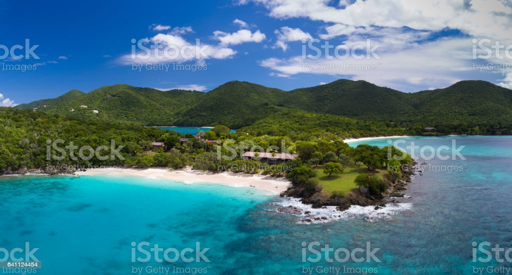 aerial view of turtle bay, caneel bay, st john stock photo