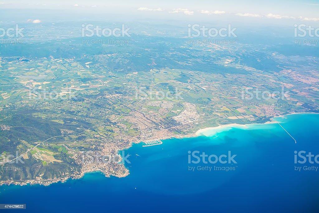 Aerial view of Tuscany coastline stock photo