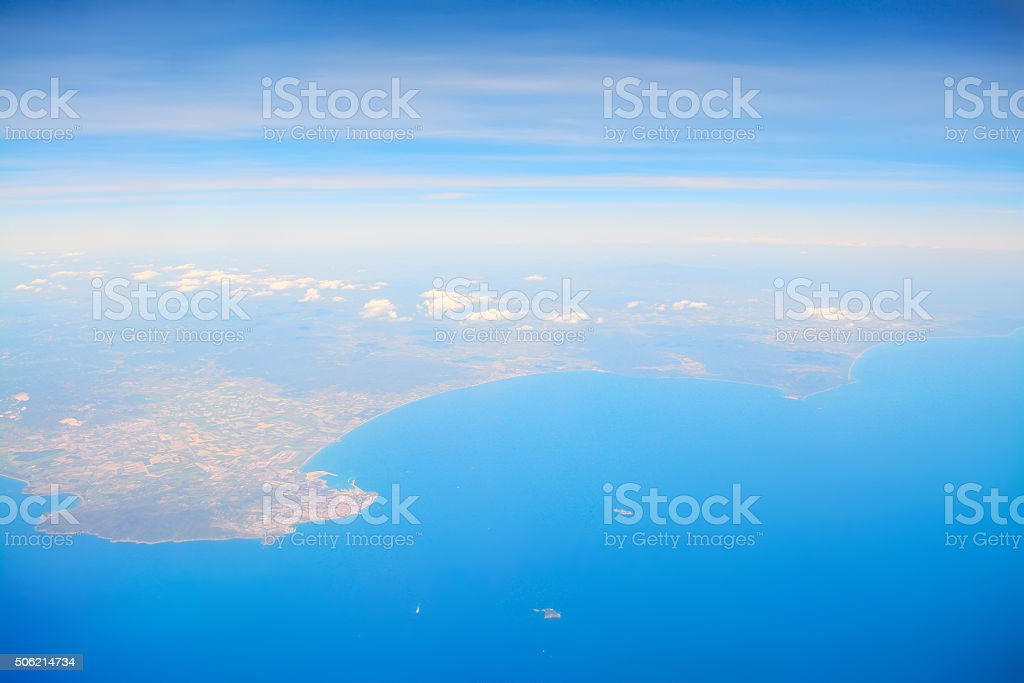 Aerial view of Tuscany shore stock photo