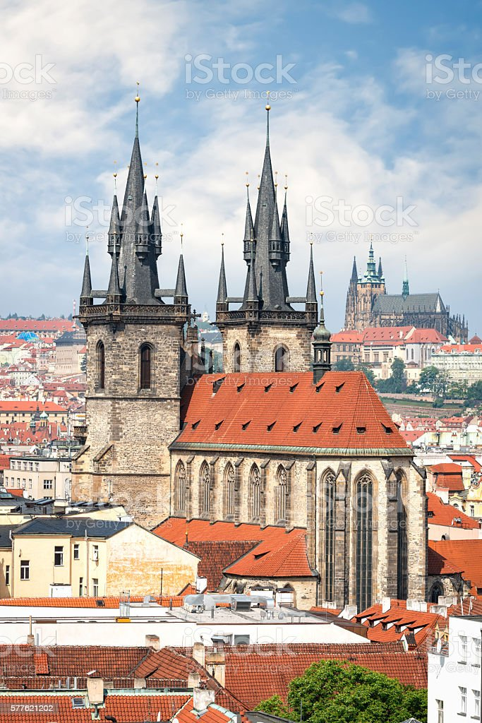 Aerial view of Tyn church in Prague old town stock photo