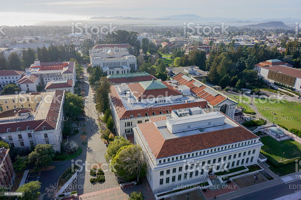 Aerial View of UC Berkeley Campus Buildings stock photo