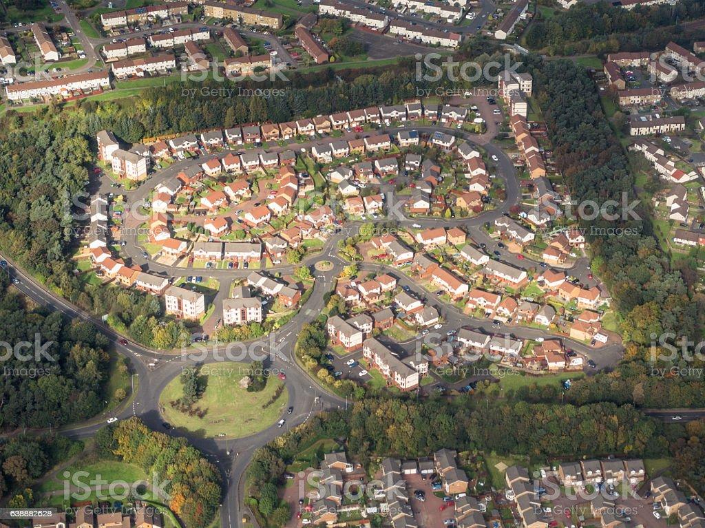Aerial view of UK housing estate stock photo