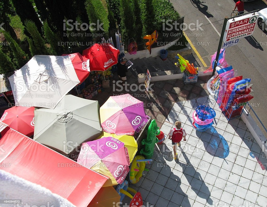 Aerial view of umbrellas boy stock photo