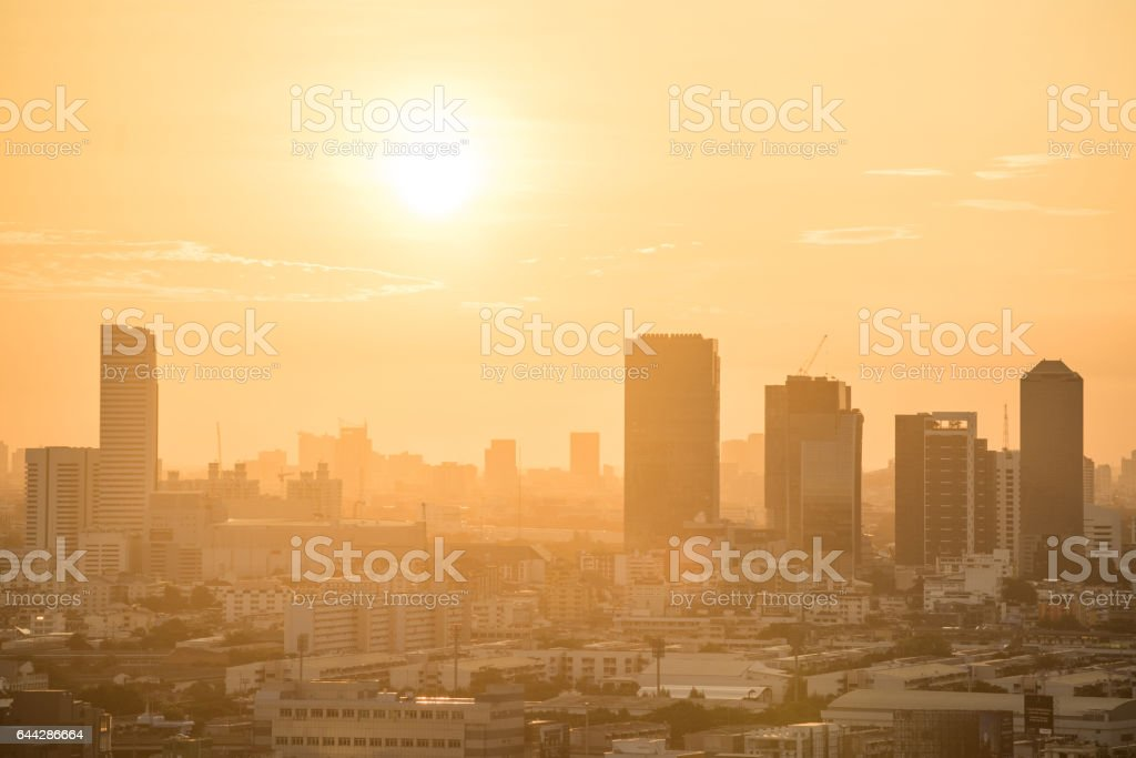 Aerial view of urban city skyline at sunrise stock photo