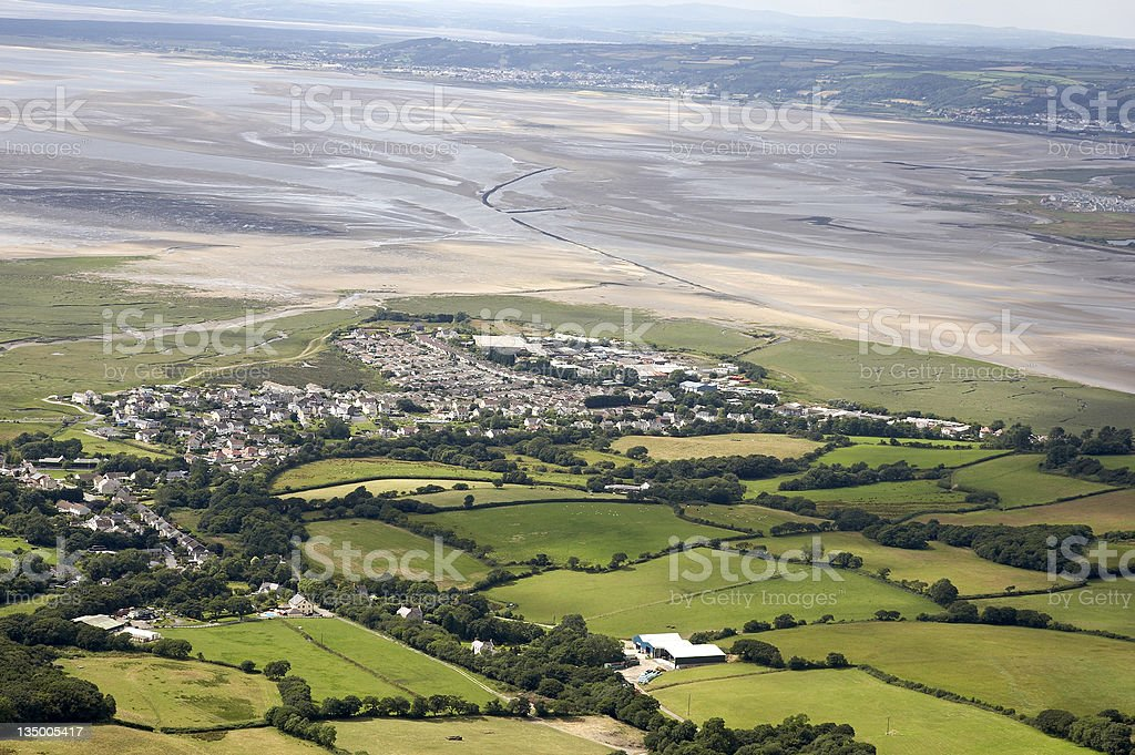 Aerial view of urban housing and estuary royalty-free stock photo