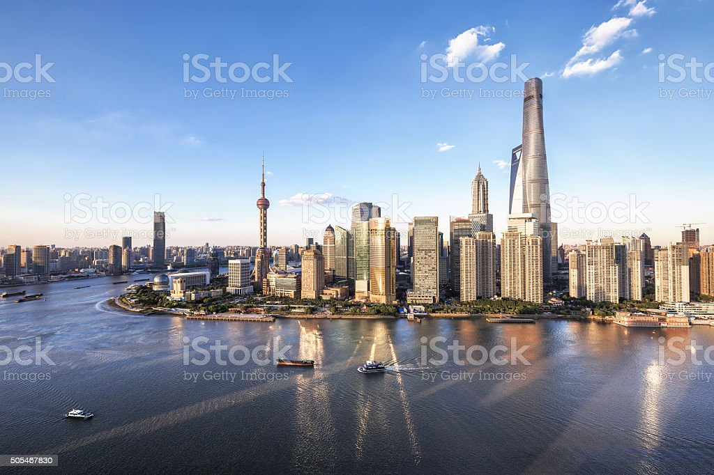 Aerial view of urban skyline and cityscape in Shanghai stock photo