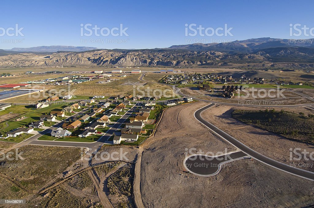 Aerial View of Urban Sprawl Encroaching on Rural Land royalty-free stock photo