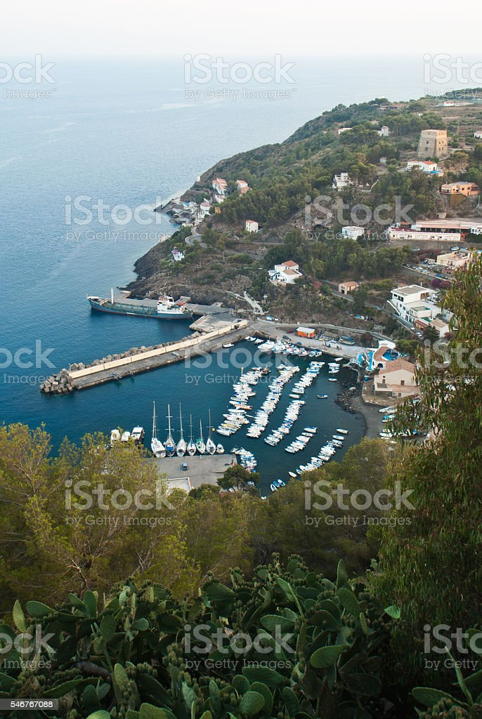 aerial view of Ustica island stock photo