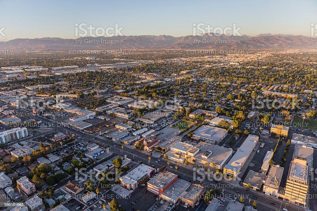 Aerial View of Van Nuys Blvd in Los Angeles stock photo