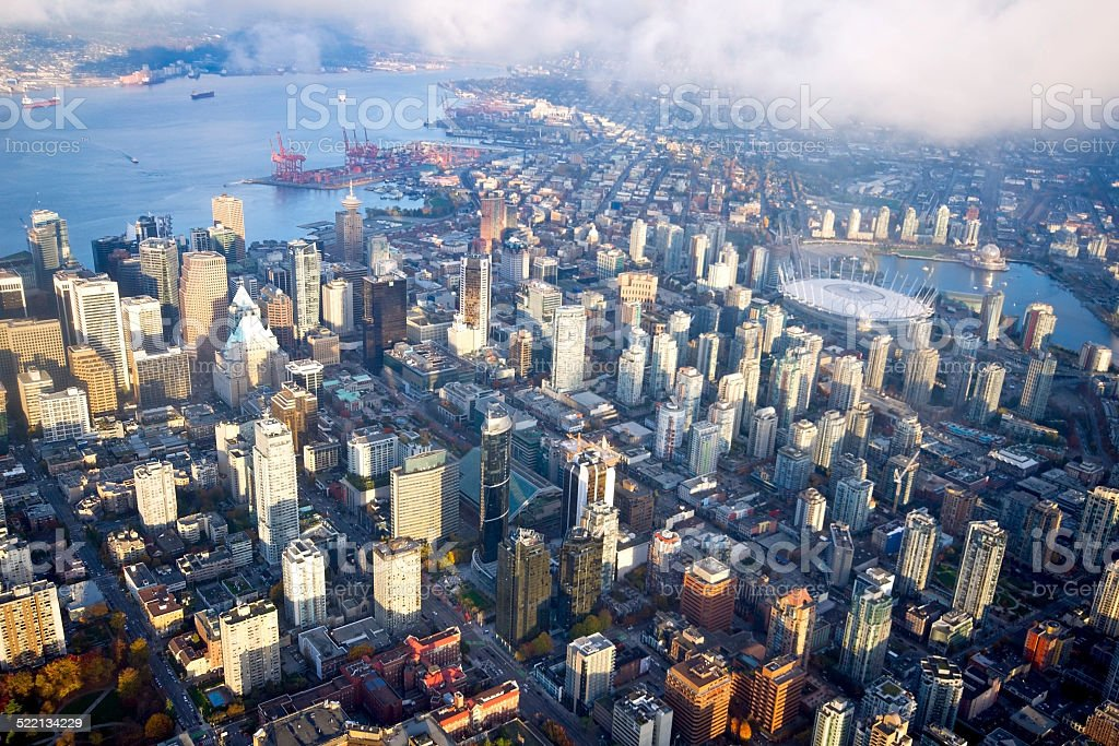 Aerial View of Vancouver Downtown stock photo