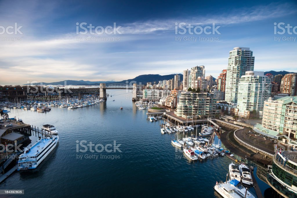 Aerial view of Vancouver's False Creek waterfront stock photo