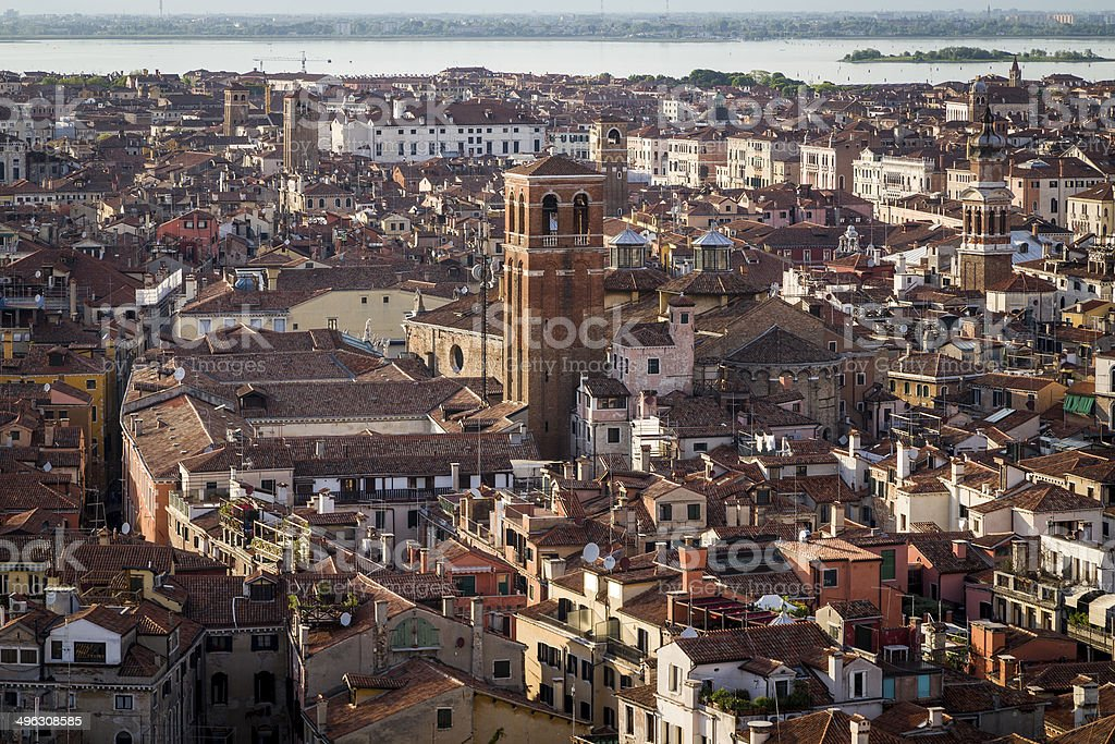 Aerial View of Venice with the Lagoon stock photo