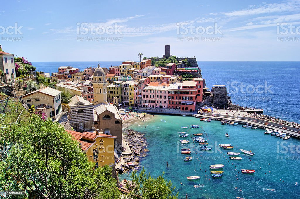 Aerial view of Vernazza, Cinque Terre, Italy stock photo