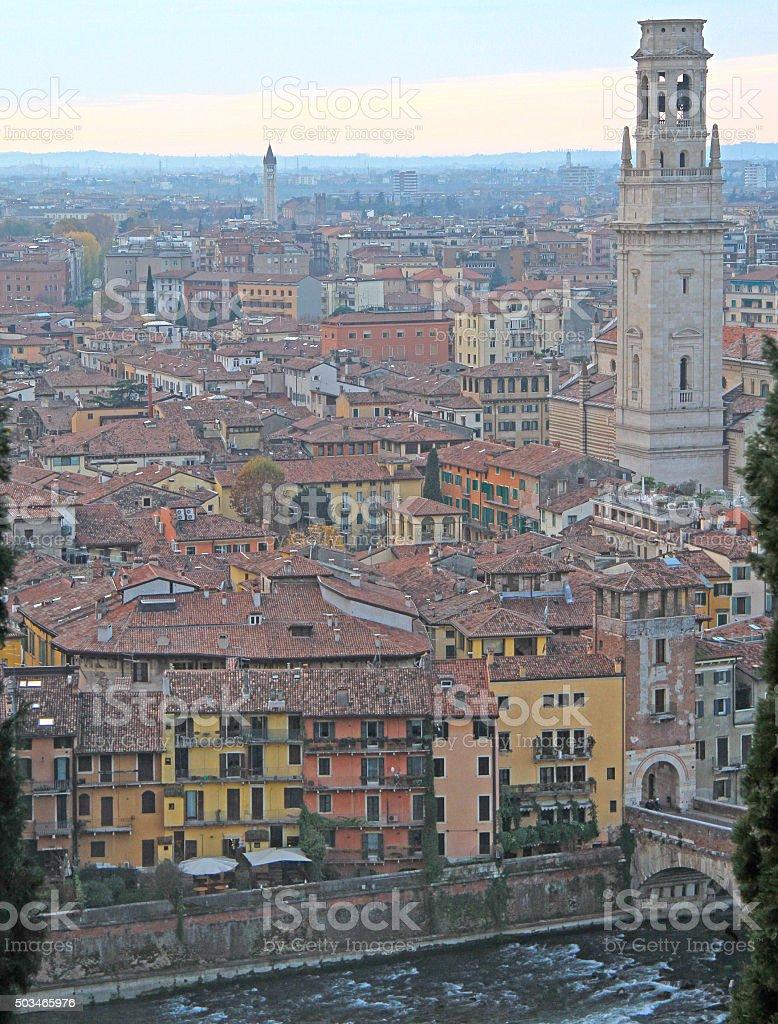 aerial view of Verona, Italy stock photo