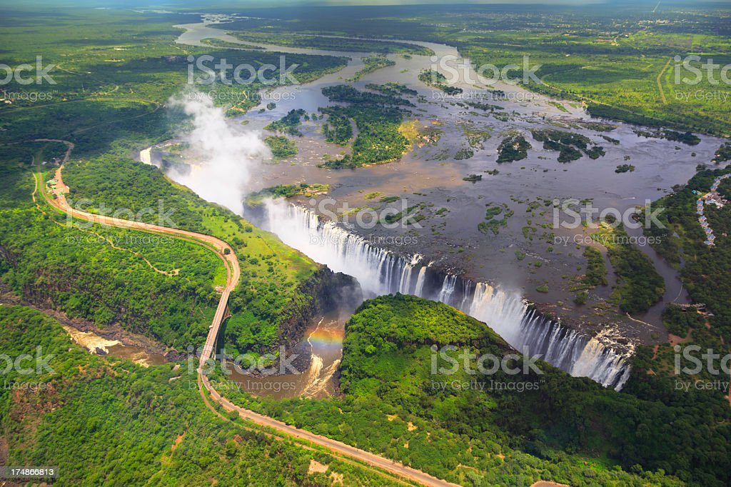Aerial view of Victoria Falls royalty-free stock photo