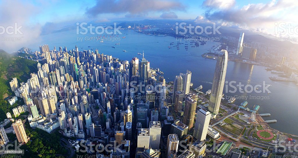 Aerial view of Victoria harbour in sunrise stock photo