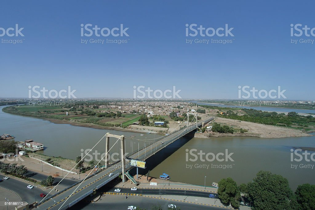 Aerial view of View of the Nile and Tuti island, Khartoum stock photo