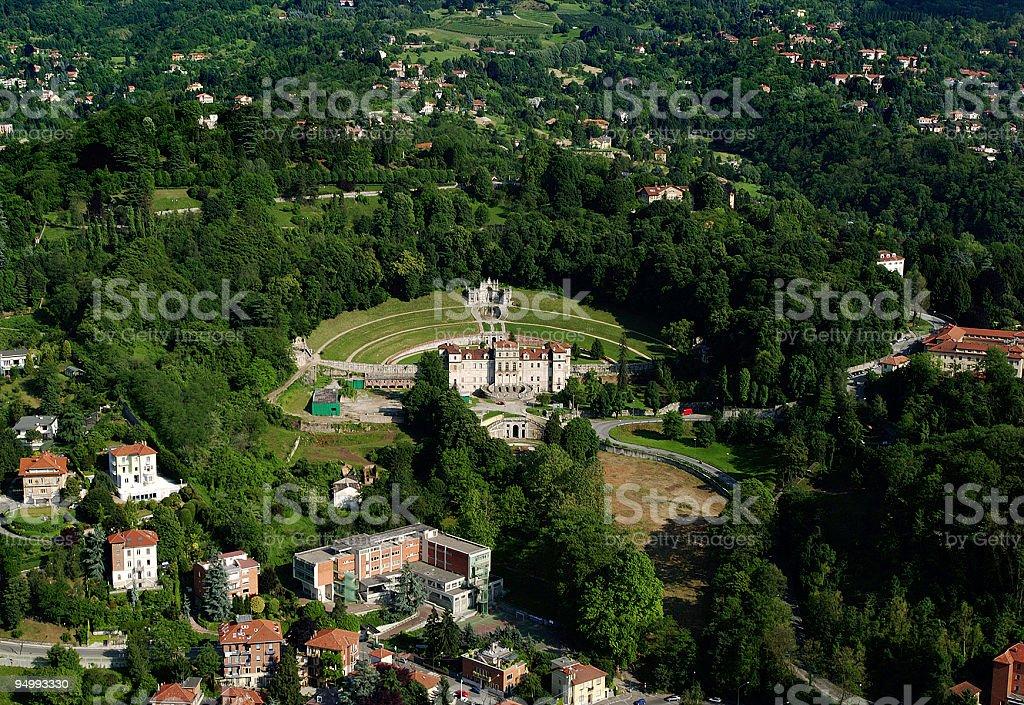 Aerial view of Villa della Regina, Turin, Piedmont, Italy stock photo
